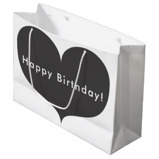Grand sac gris de cadeau de joyeux anniversaire du
