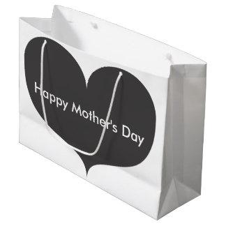 Grand sac heureux gris de cadeau du jour de mère