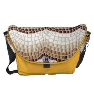 Grand sac messenger à mosaïque beige besaces