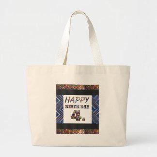 Grand Tote Bag 4ème texte de joyeux anniversaire