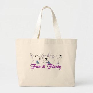 Grand Tote Bag Amusement et Bullterrier audacieux Flirty