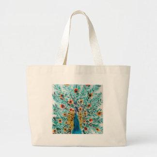 Grand Tote Bag Art de paon de vert vert et de turquoise