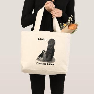 Grand Tote Bag Beagle mignon de chiot avec l'art noir et blanc de