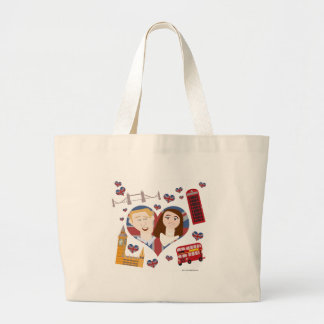 Grand Tote Bag Beaux couples royaux de bande dessinée