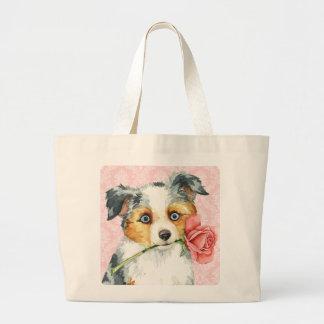 Grand Tote Bag Berger américain de rose de Valentine mini