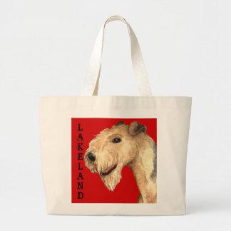 Grand Tote Bag Bloc de couleur de région des lacs Terrier