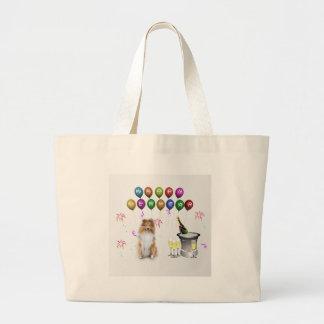 Grand Tote Bag Bonne année de chien de Sheltie