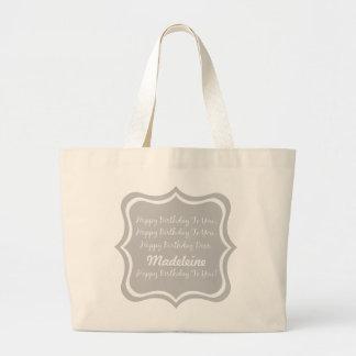 Grand Tote Bag Chanson de joyeux anniversaire sur le gris de