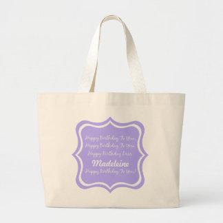 Grand Tote Bag Chanson de joyeux anniversaire sur le lilas bleu