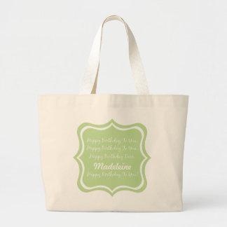 Grand Tote Bag Chanson de joyeux anniversaire sur le vert en bon