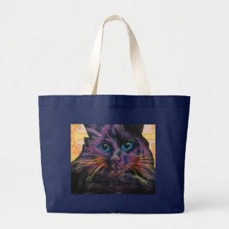 Grand Tote Bag Chat noir fleurissant