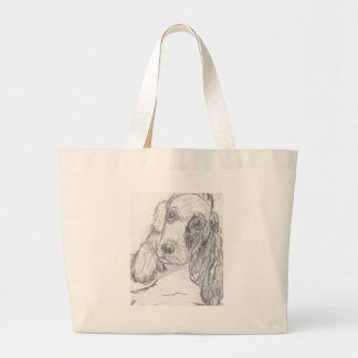 Grand Tote Bag Chien de cocker dessinant Eliana