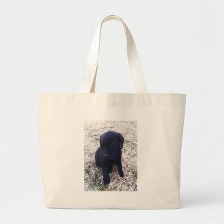 Grand Tote Bag Chiot noir de labrador retriever