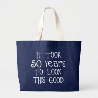 Grand Tote Bag cinquantième anniversaire, 50 ans pour regarder