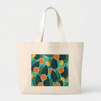 Grand Tote Bag citrons et oranges turquoises