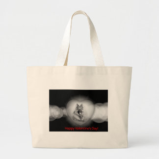 Grand Tote Bag Coeur de chien de berger allemand de Valentines