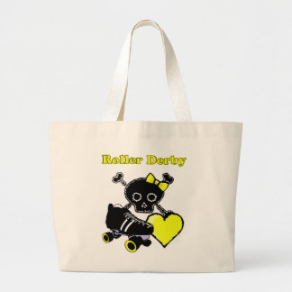 Grand Tote Bag Coeur de Derby de rouleau (jaune)