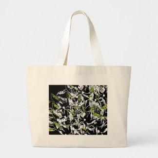 Grand Tote Bag Conception abstraite florale verte