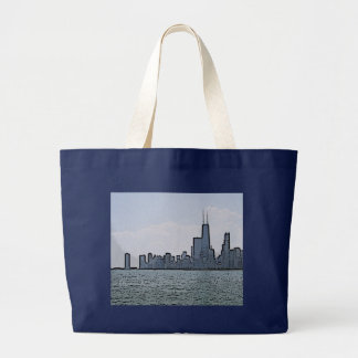 Grand Tote Bag Croquis d'horizon magnifique de Chicago