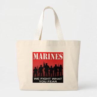 Grand Tote Bag Des marines nous combattons ce que vous craignez