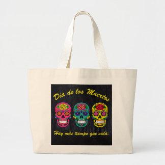Grand Tote Bag Día de los Muertos trois sucrent des crânes
