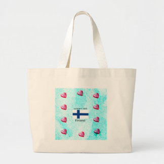 Grand Tote Bag Drapeau de la Finlande et conception finlandaise