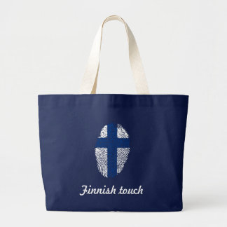 Grand Tote Bag Drapeau finlandais d'empreinte digitale de contact