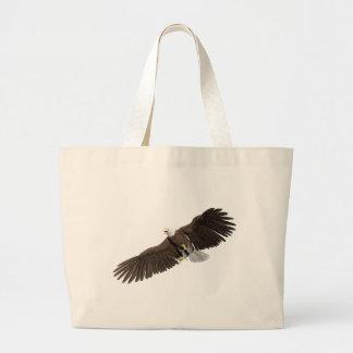 Grand Tote Bag Eagle chauve avec des ailes sur vers le bas