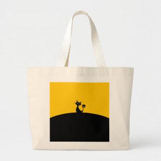 Grand Tote Bag Éléphant Fourre-tout de chat noir