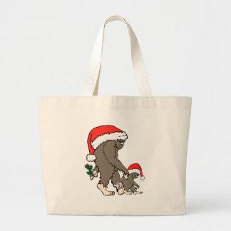 Grand Tote Bag Famille de Bigfoot de Noël