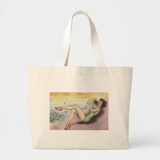Grand Tote Bag Fille de pin-up sur la plage