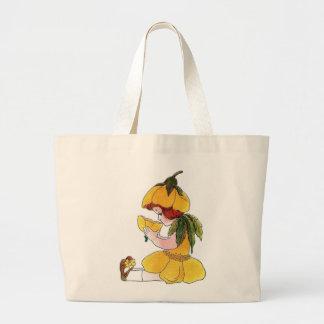 Grand Tote Bag Fille mignonne drôle d'enfant de fleur de