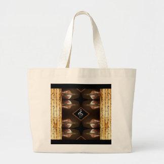 Grand Tote Bag Frontière peinte à la main 1 de musique de feuille
