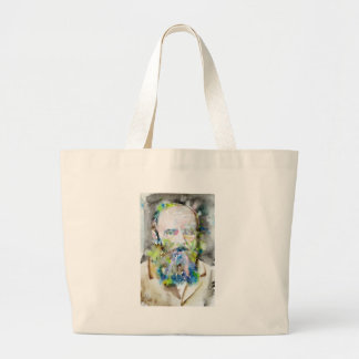 Grand Tote Bag fyodor dostoevsky - portrait d'aquarelle