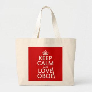 Grand Tote Bag Gardez le calme et aimez le hautbois (toute