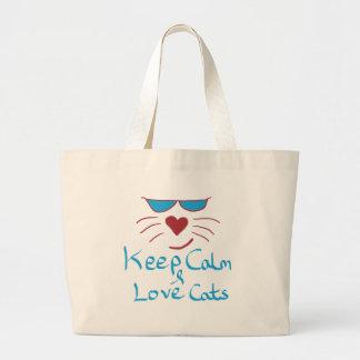 Grand Tote Bag Gardez le calme et aimez les chats