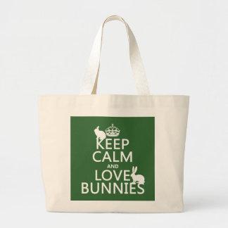 Grand Tote Bag Gardez le calme et aimez les lapins - toutes les