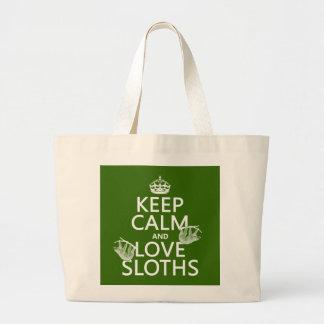 Grand Tote Bag Gardez le calme et aimez les paresses (toute
