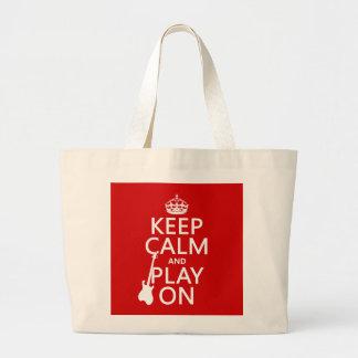 Grand Tote Bag Gardez le calme et le jeu sur (guitare) (toute