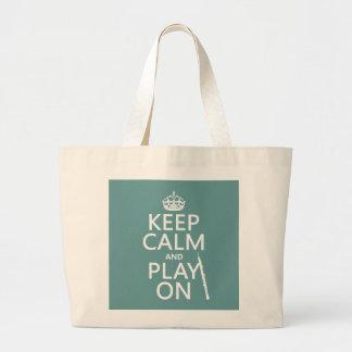 Grand Tote Bag Gardez le calme et le jeu sur (hautbois) (toute