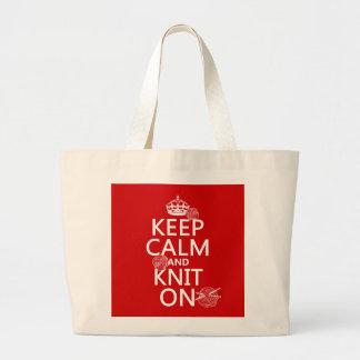 Grand Tote Bag Gardez le calme et tricotez dessus - toutes les