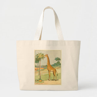 Grand Tote Bag Girafe africaine mangeant le feuille d'acacia