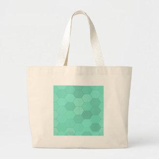 Grand Tote Bag Hexagones bleu vert
