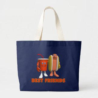 Grand Tote Bag Hot-dog et soude de meilleurs amis