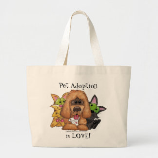 Grand Tote Bag Idiot et chat avec l'adoption de Sassie-Animal