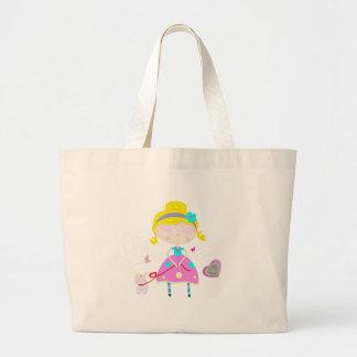 Grand Tote Bag Illustration de petite fille