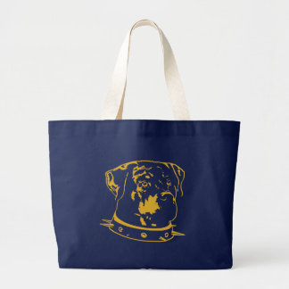 Grand Tote Bag Illustration jaune de rottweiler