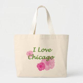 Grand Tote Bag J'aime Chicago : Fleurs roses d'aquarelle