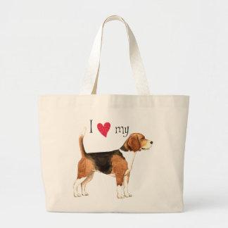 Grand Tote Bag J'aime mon beagle
