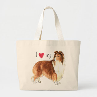 Grand Tote Bag J'aime mon Sheltie